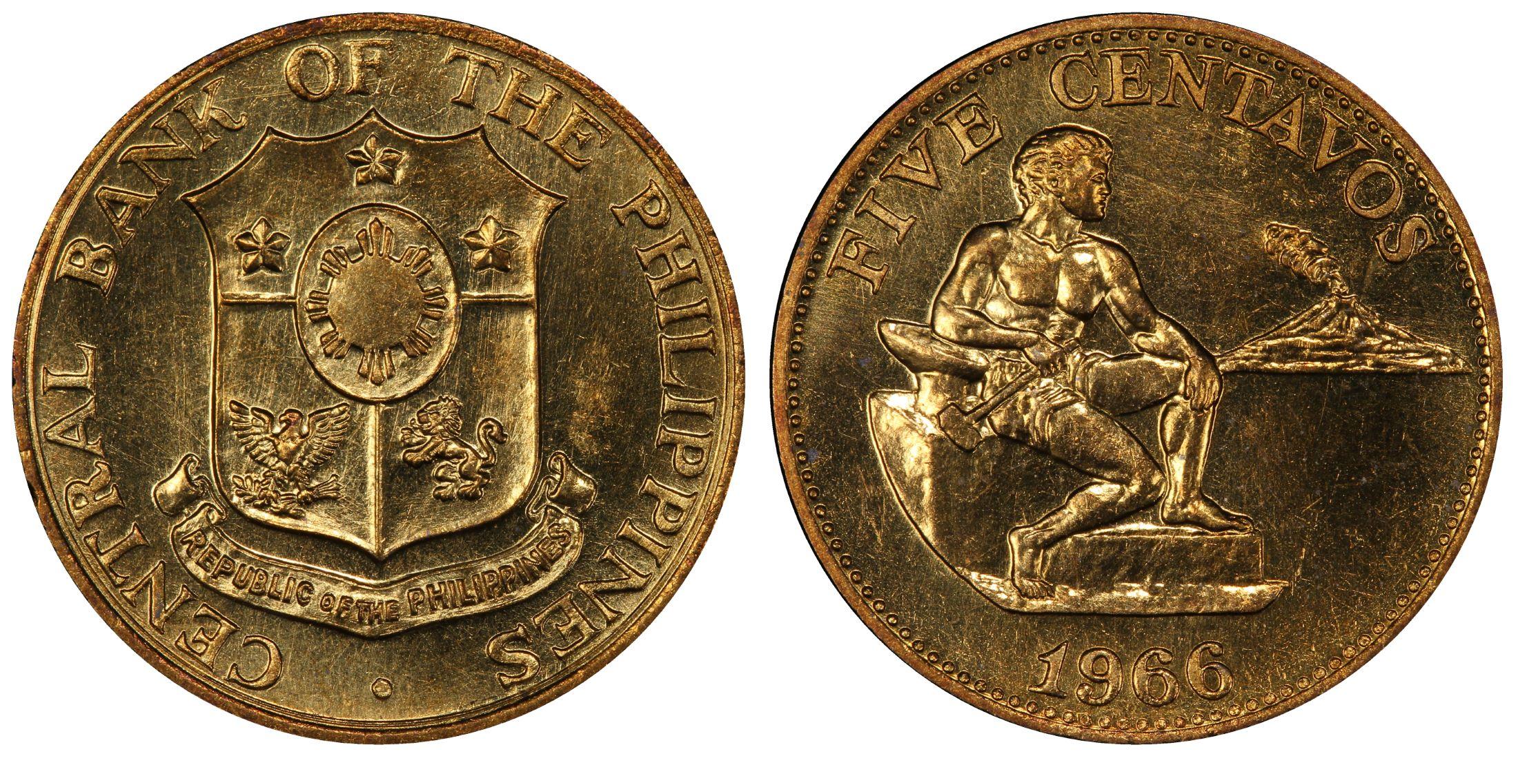 Asia Good Philippines 1966 Brass 5 Centavos Pcgs Sp65 Km187 Rare King's Norton Mint Spec Superior Performance Coins & Paper Money